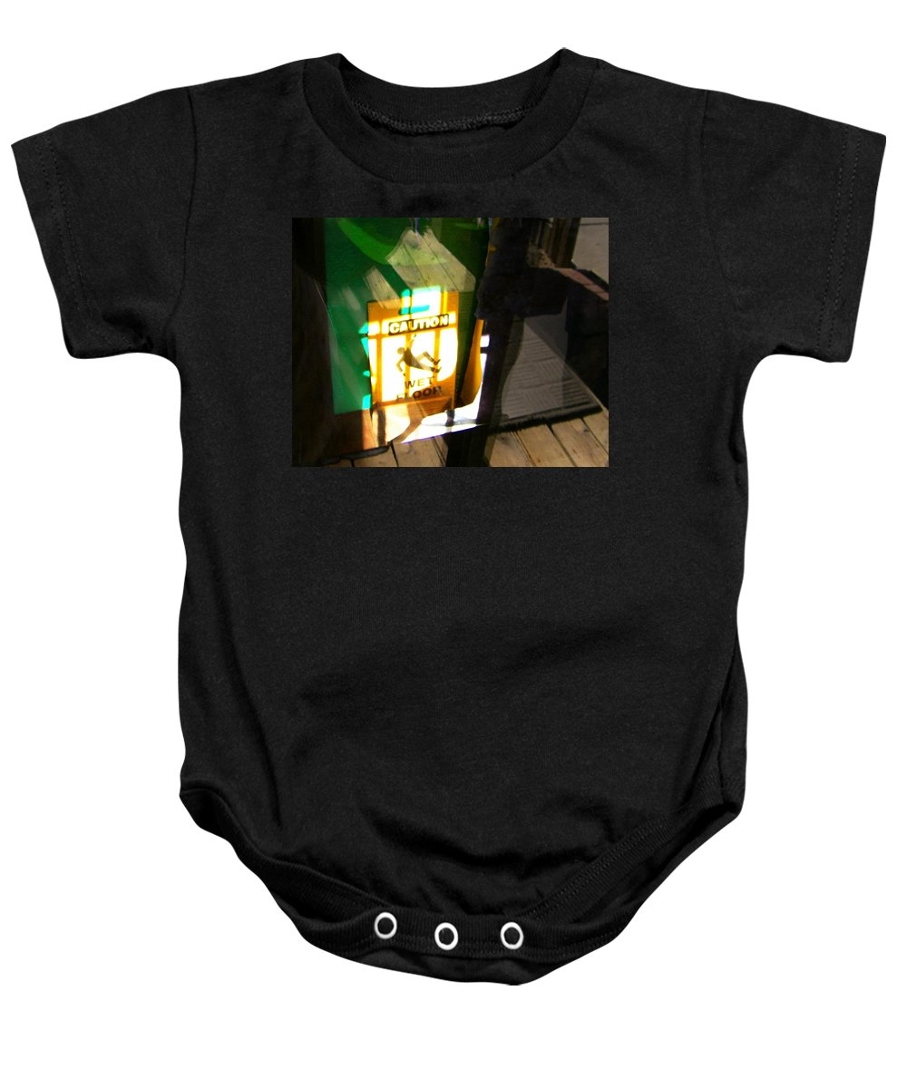 Abstract Baby Onesie featuring the photograph Wet Floor by Lenore Senior