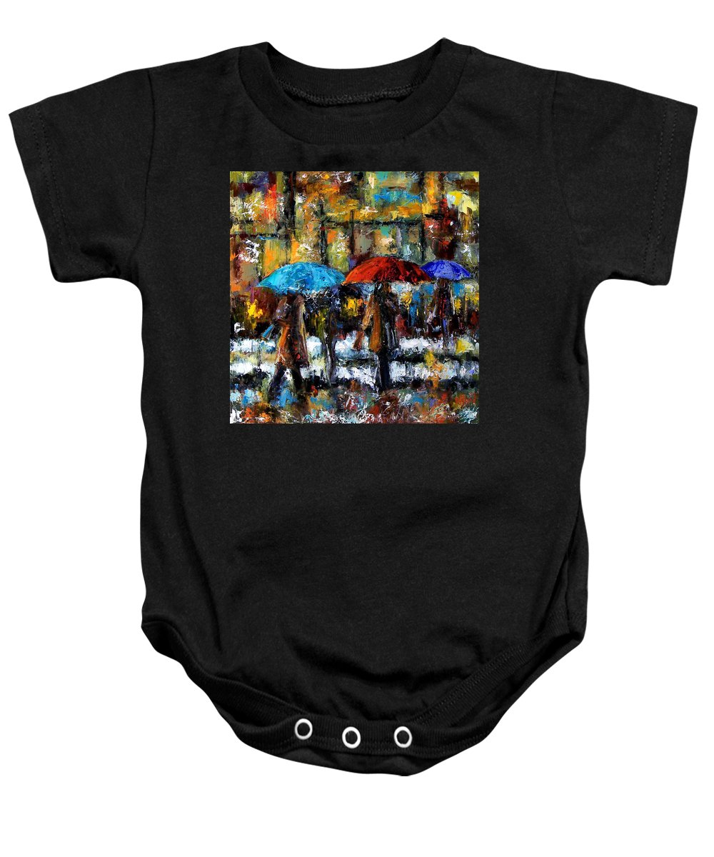 Rainy City Art Baby Onesie featuring the painting Wet Winter Day by Debra Hurd