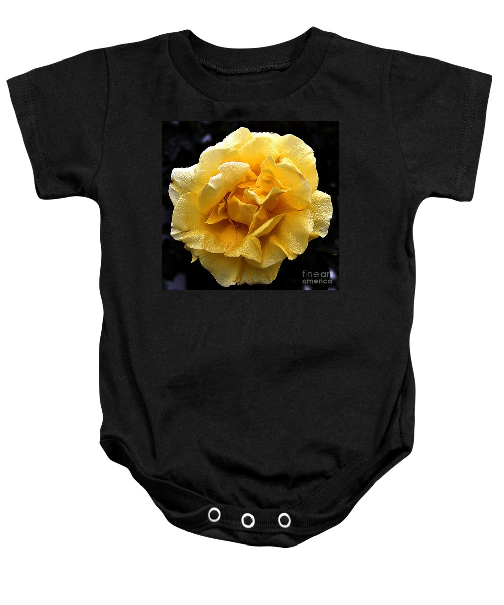 Clay Baby Onesie featuring the photograph Wet Yellow Rose II by Clayton Bruster