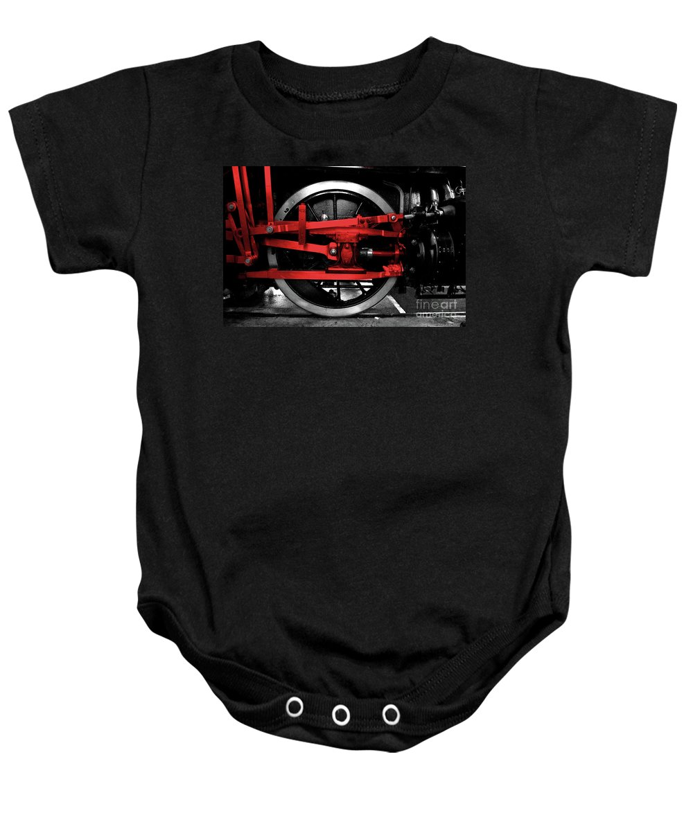 Wheel Baby Onesie featuring the photograph Wheel Of Red Steel by Rob Hawkins