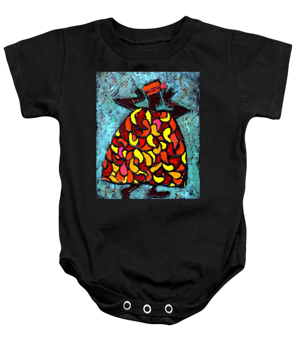 Black Art Baby Onesie featuring the painting When Moma's Happy by Wayne Potrafka