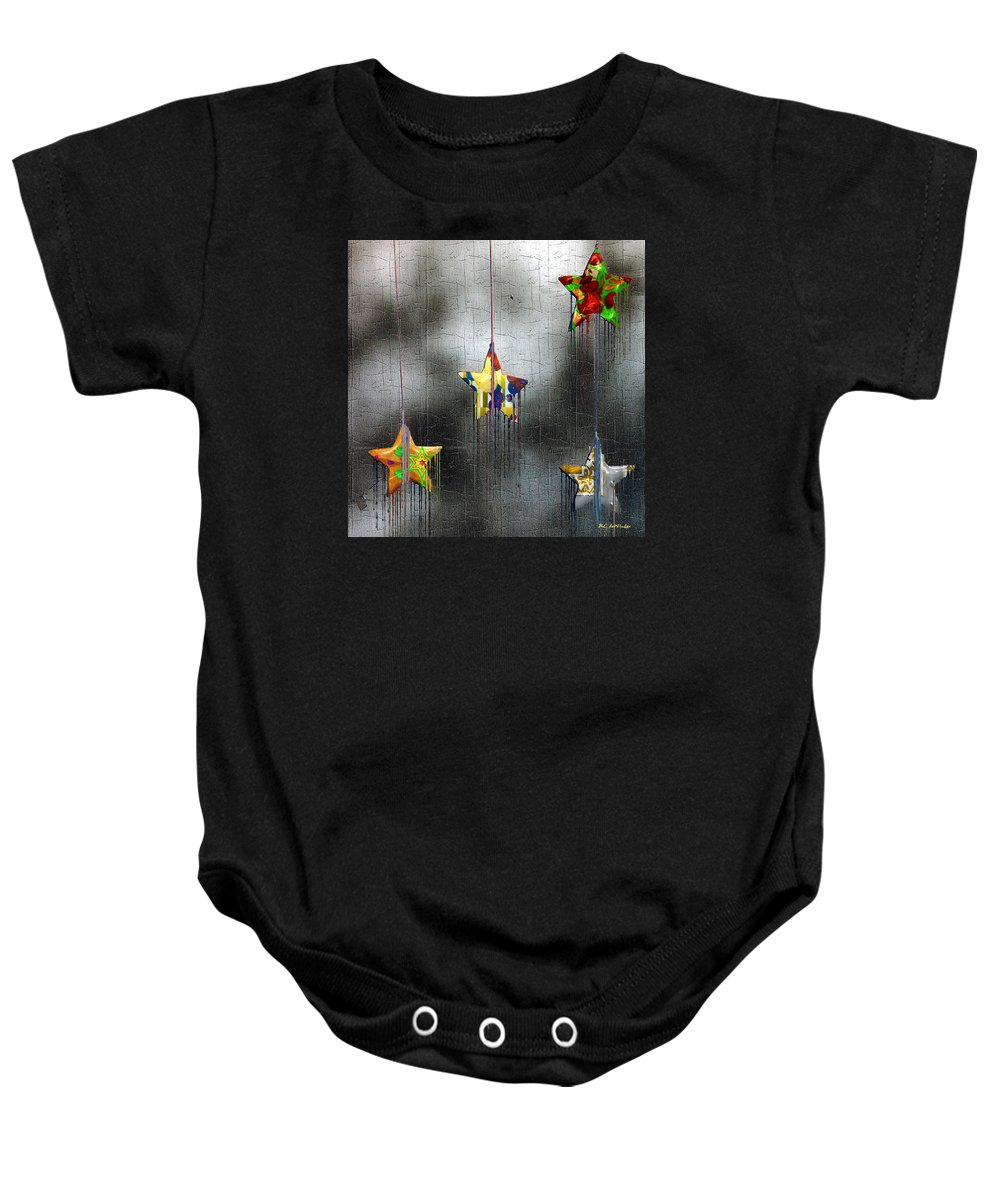 Stars Baby Onesie featuring the painting When Stars Melt Down by RC DeWinter