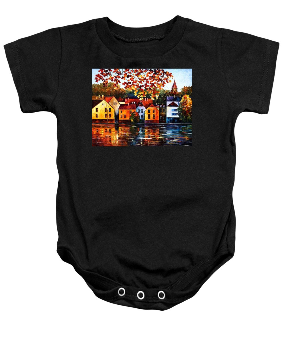 Afremov Baby Onesie featuring the painting Where I Grew Up by Leonid Afremov