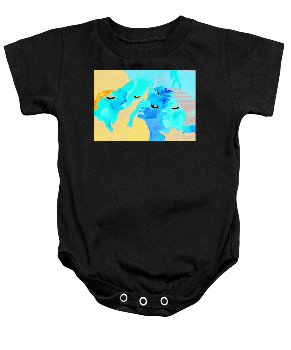 Lost Curious Red Blue People Baby Onesie featuring the painting Where Was I by Veronica Jackson