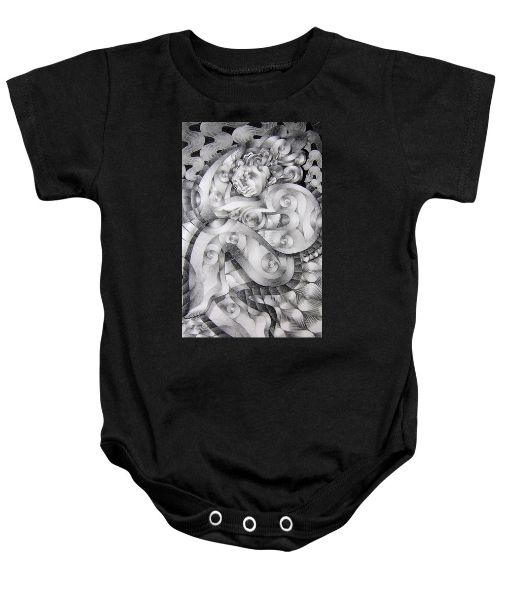 Art Baby Onesie featuring the drawing Whim by Myron Belfast