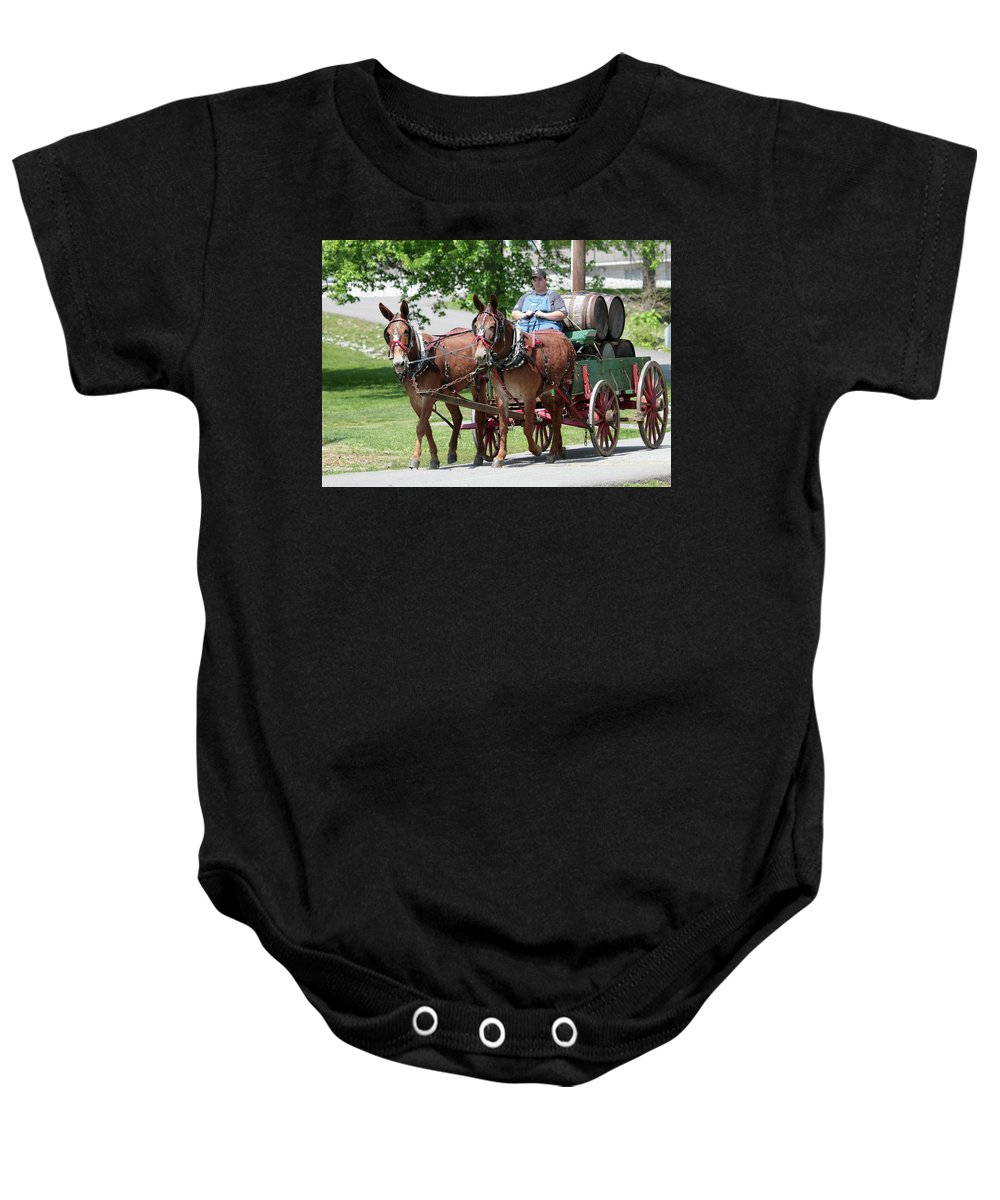 Mule Baby Onesie featuring the photograph Whiskey Hauler by Dwight Cook
