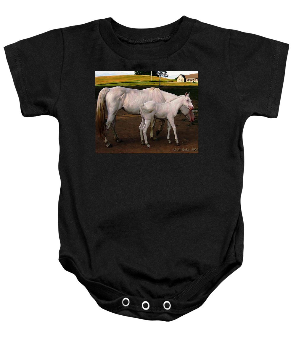White Horses Baby Onesie featuring the painting White Baby Horse by Jill Baker