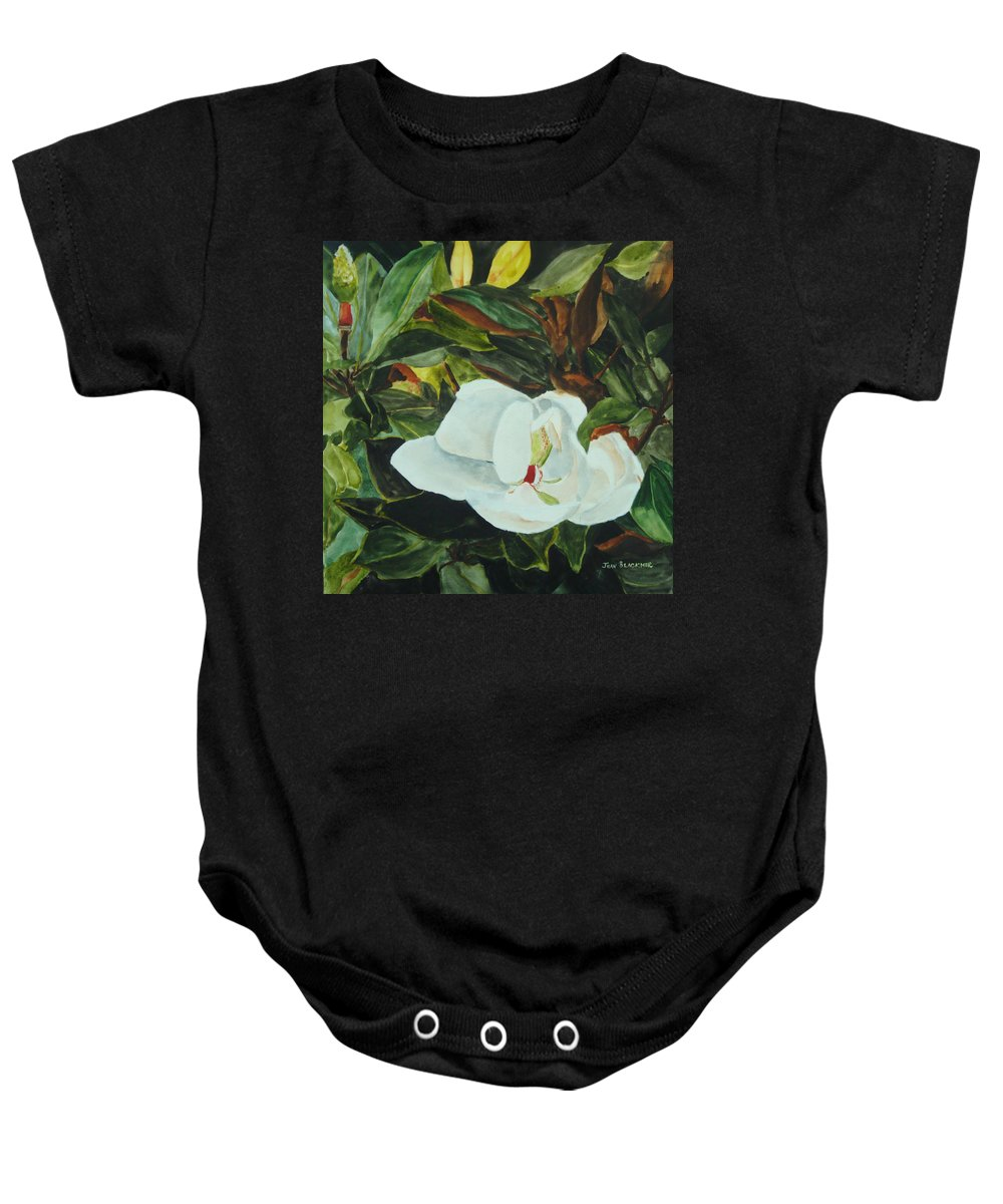 Flower Baby Onesie featuring the painting White Beauty by Jean Blackmer