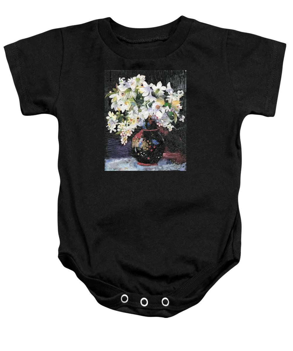 Limited Edition Prints Baby Onesie featuring the painting White Celebration by Nira Schwartz