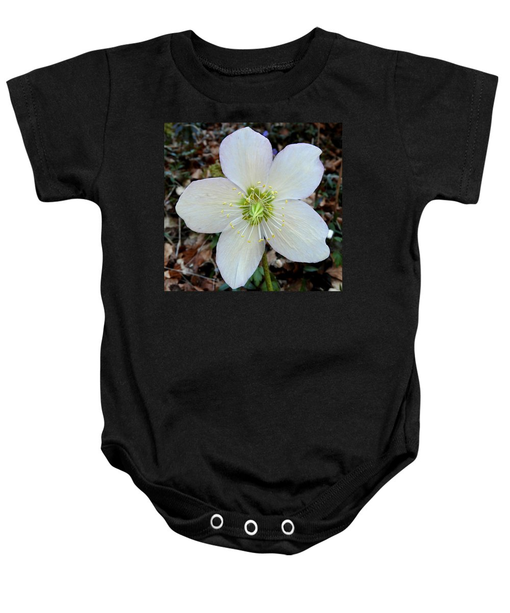 Flower Baby Onesie featuring the photograph White Flower by Noe Petillion