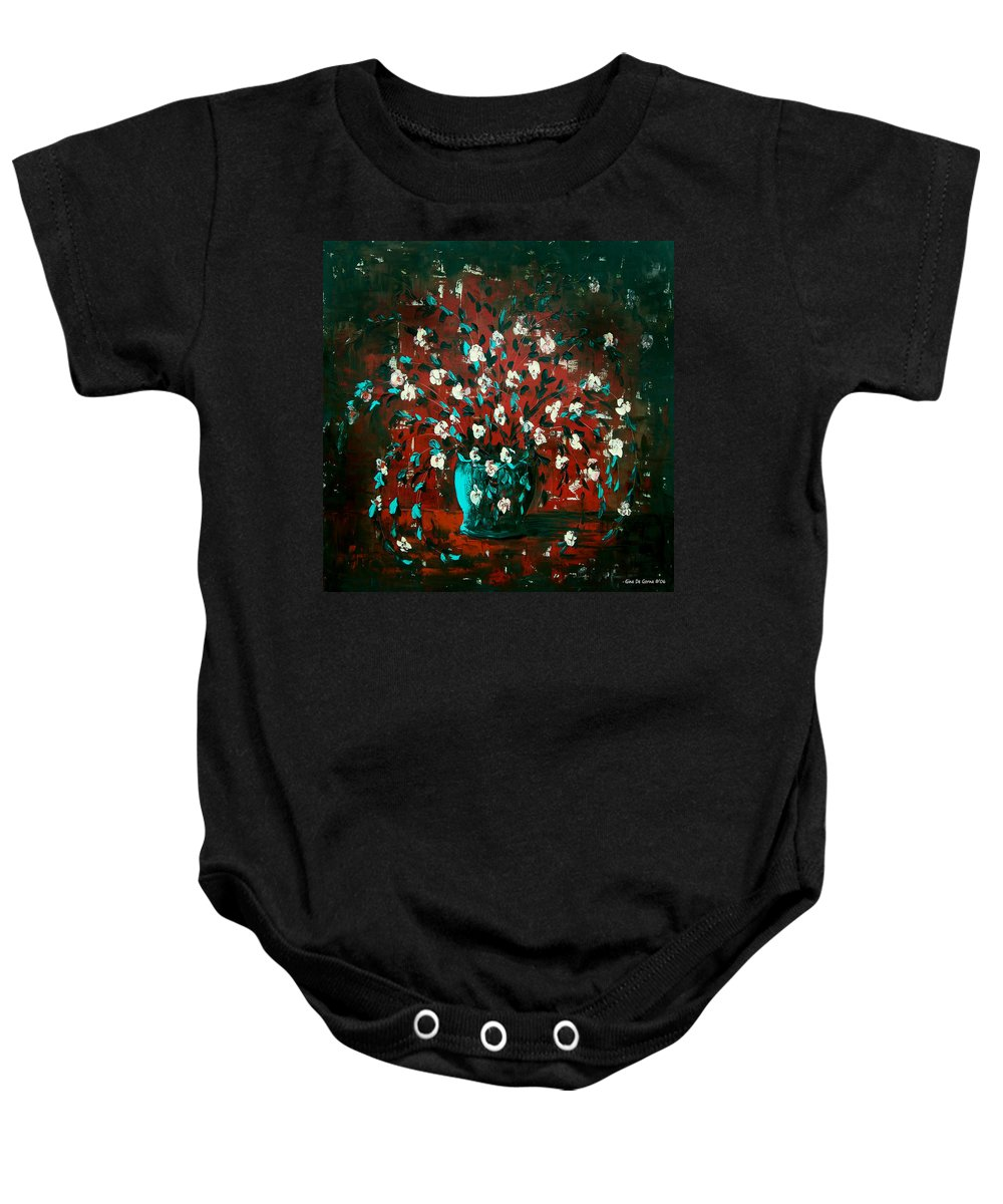 Flowers Baby Onesie featuring the painting White Flowers 4 by Gina De Gorna