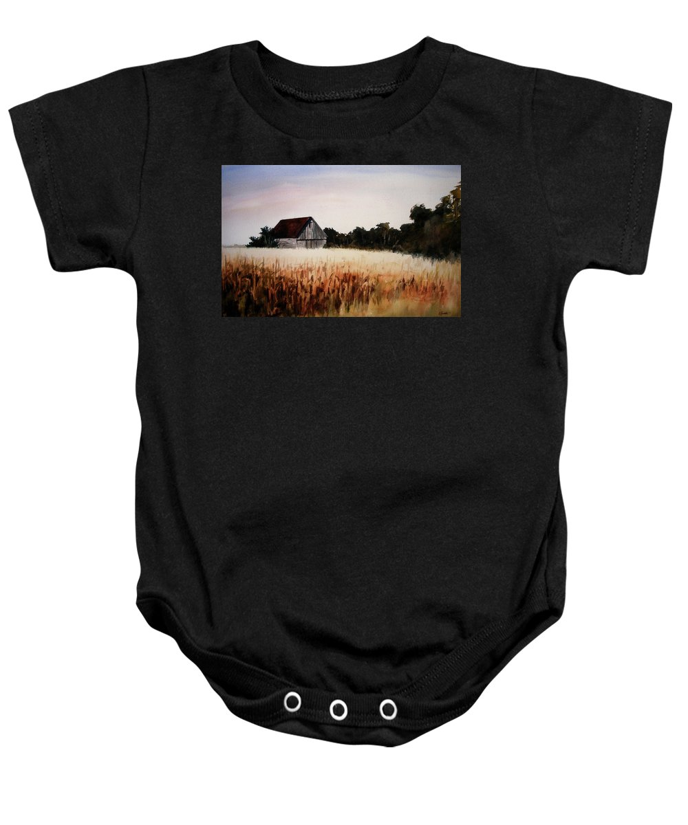 Landscape Baby Onesie featuring the painting White For Harvest by Rachel Christine Nowicki