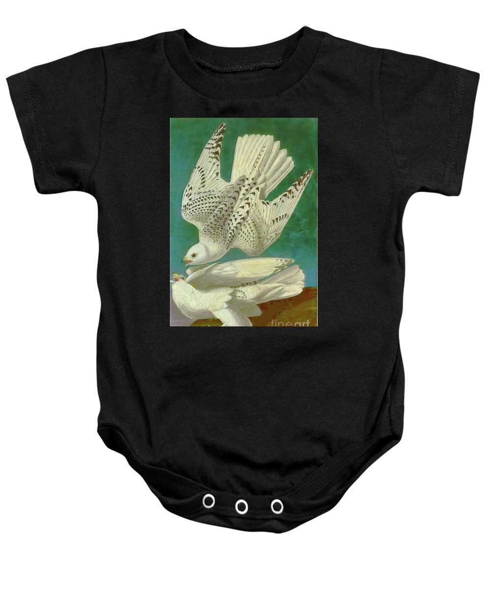 Birds Baby Onesie featuring the painting White Gyrfalcons by D Fessenden