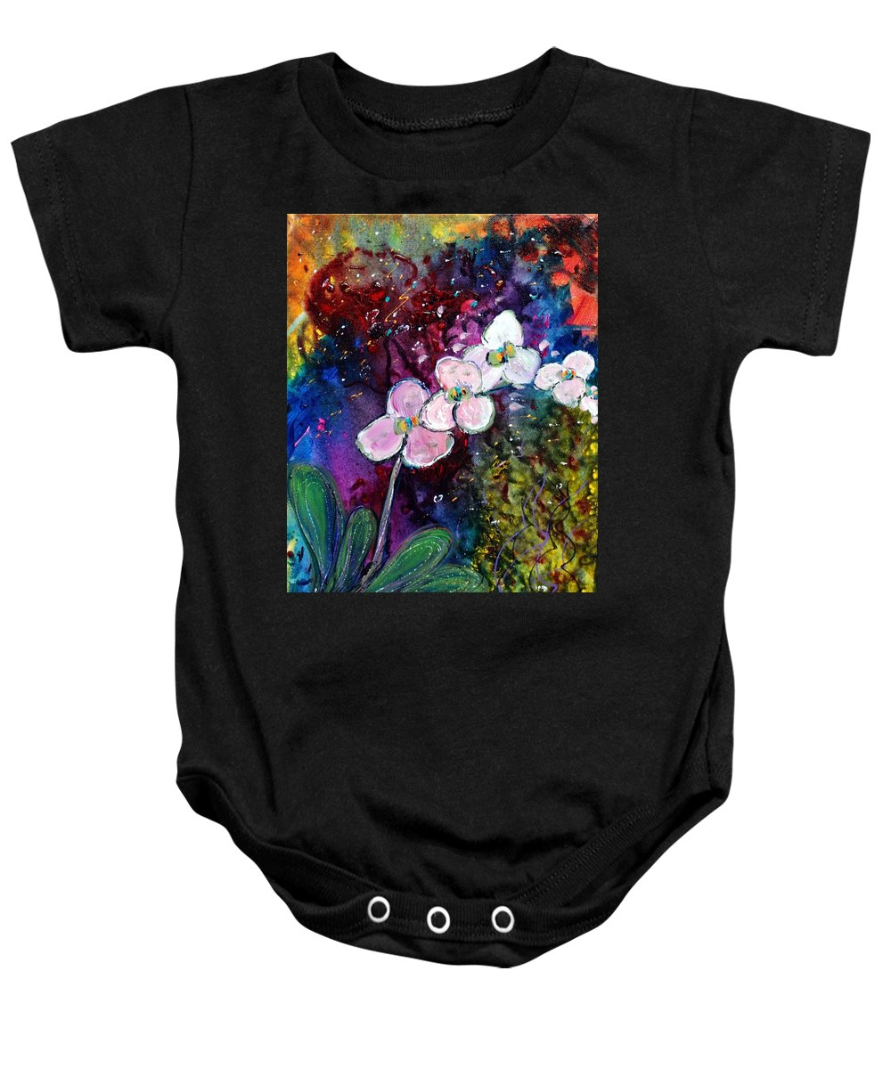 Flowers Baby Onesie featuring the painting White Orchid by Luiza Vizoli