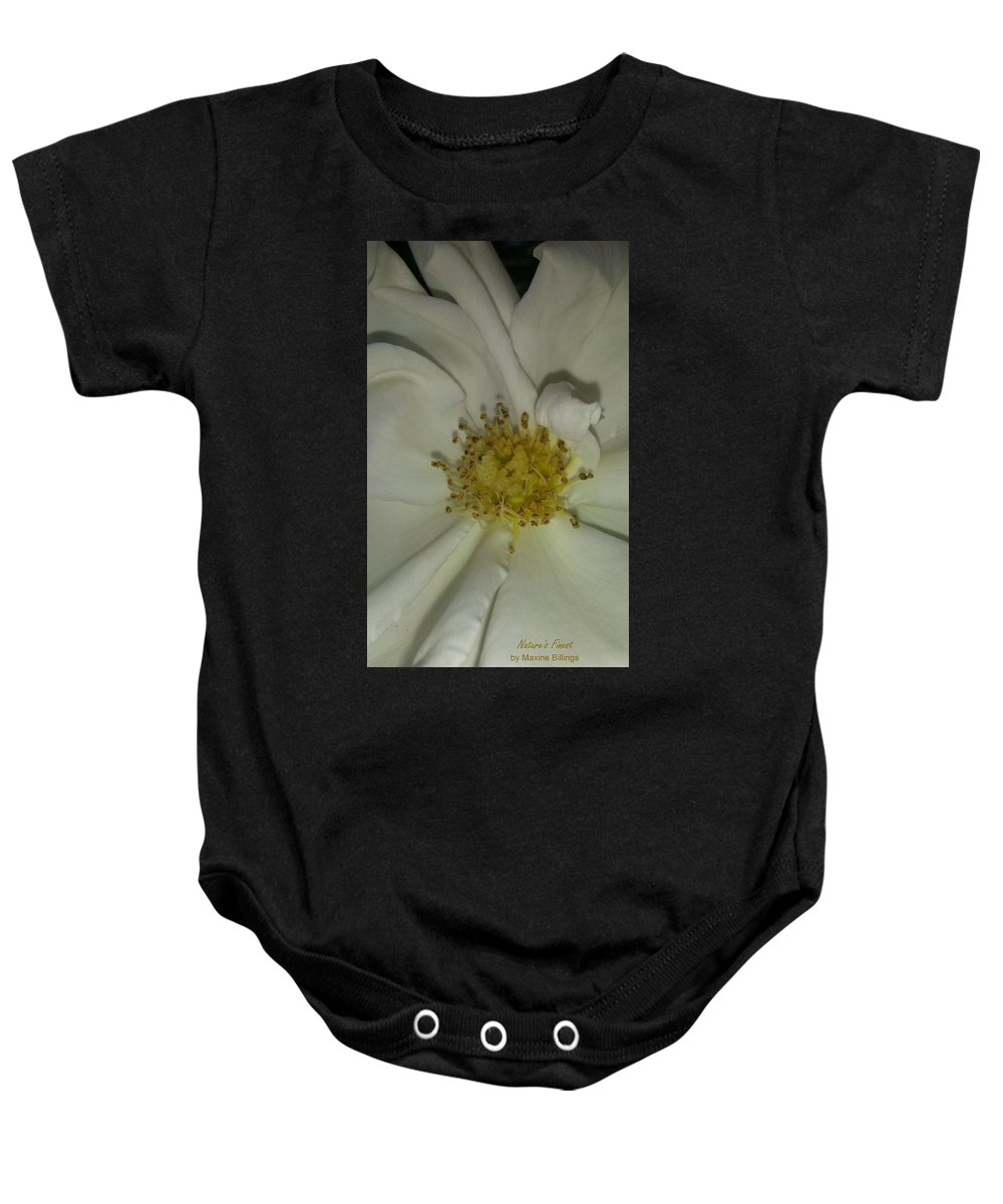 Roses Baby Onesie featuring the photograph White Pinwheel Rose by Maxine Billings