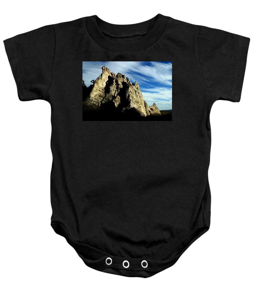 Garden Of The Gods Baby Onesie featuring the photograph White Rocks by Anthony Jones