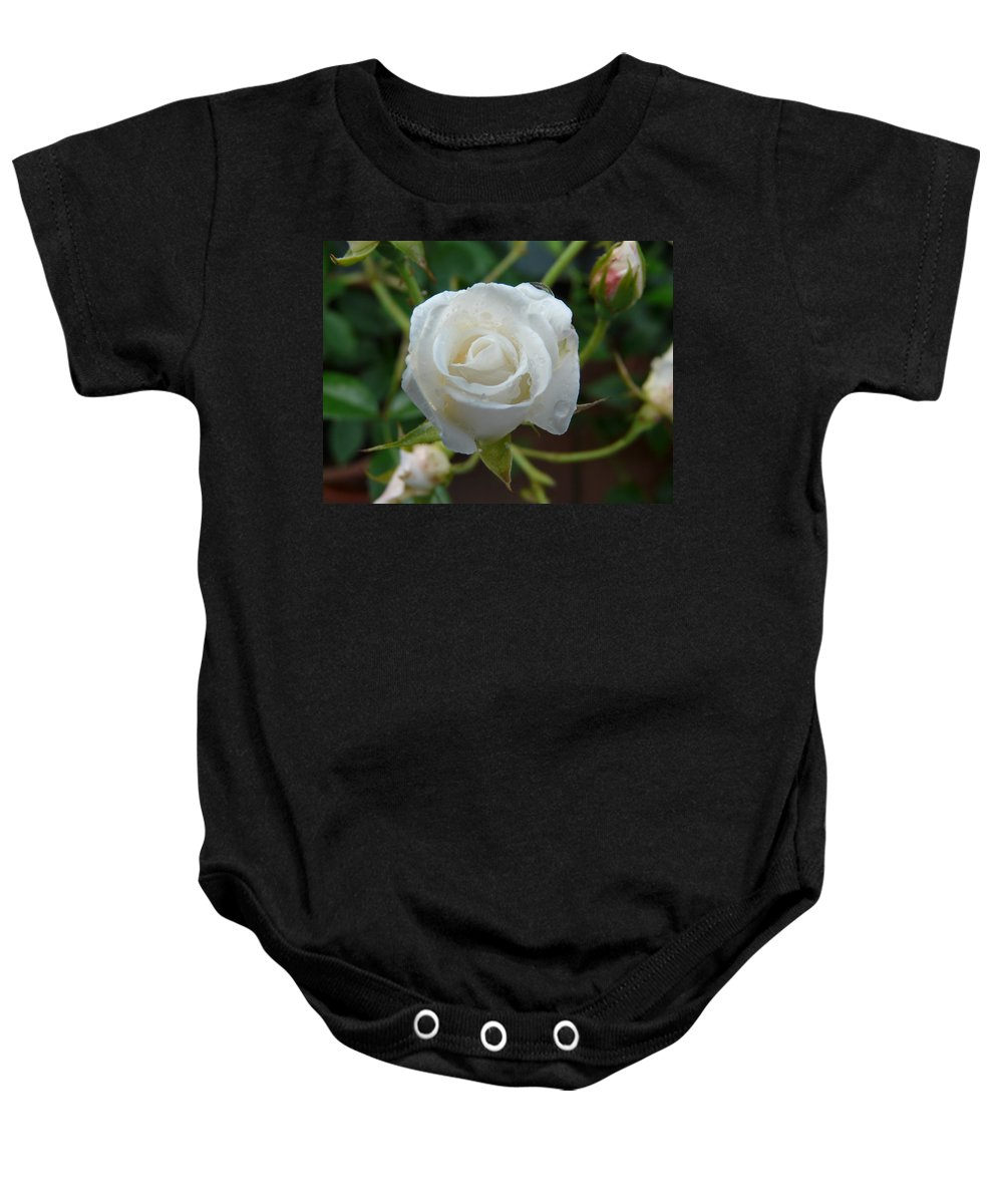 Rose Baby Onesie featuring the photograph White Rose After Rain 2 by Valerie Ornstein
