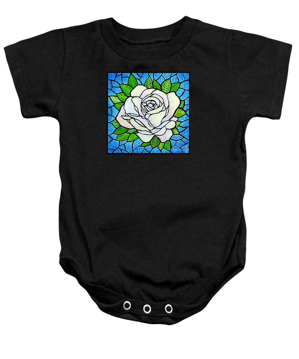 White Baby Onesie featuring the painting White Rose by Jim Harris