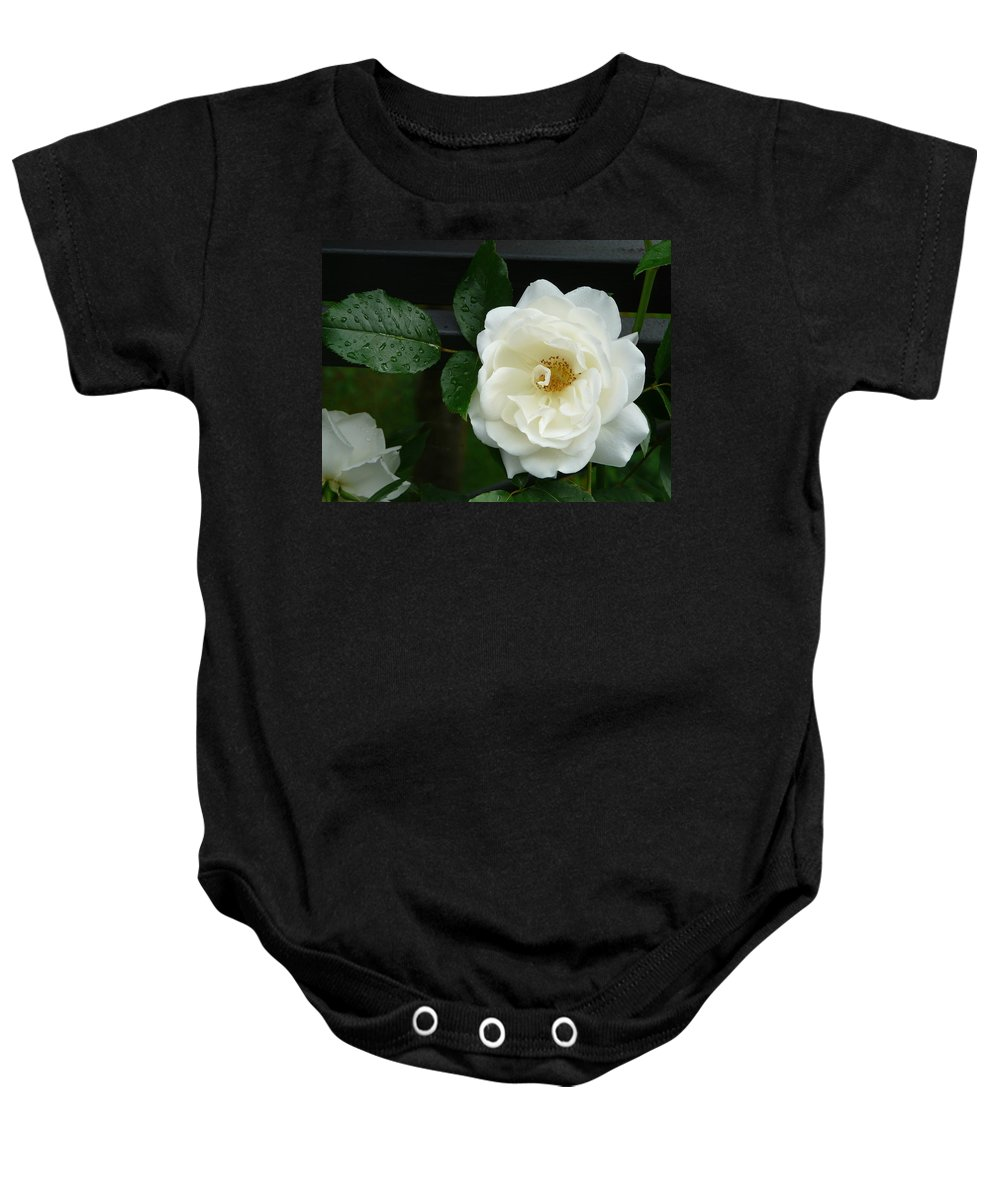 Rose Baby Onesie featuring the photograph White Rose by Valerie Ornstein