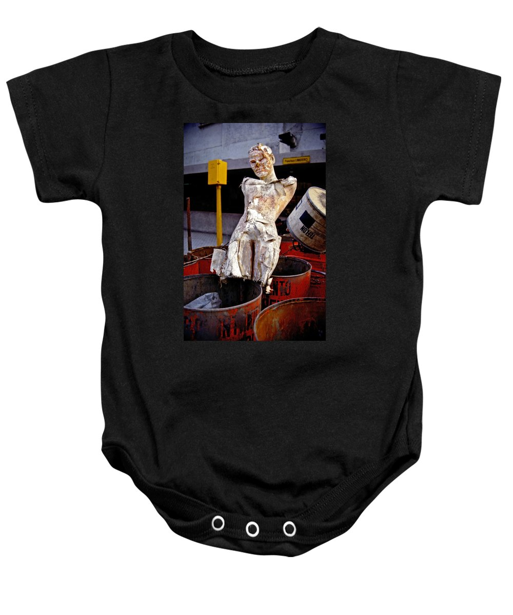 Trash Baby Onesie featuring the photograph White Trash by Skip Hunt