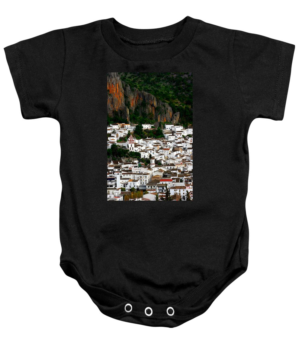Spain Baby Onesie featuring the painting White Village Of Ubrique Spain by Bruce Nutting