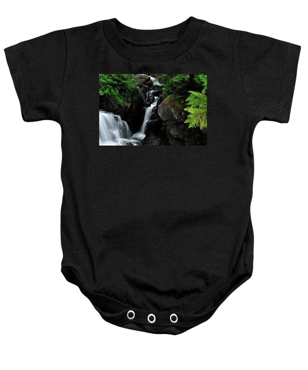 Baby Onesie featuring the photograph White Water Black Rocks by David Arment