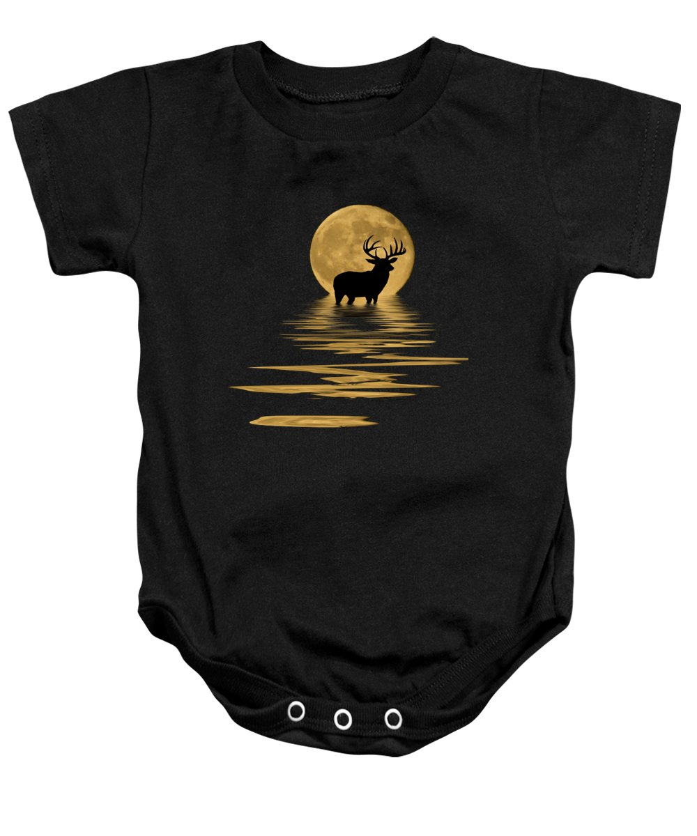Dark Baby Onesie featuring the mixed media Whitetail Deer In The Moonlight by Shane Bechler
