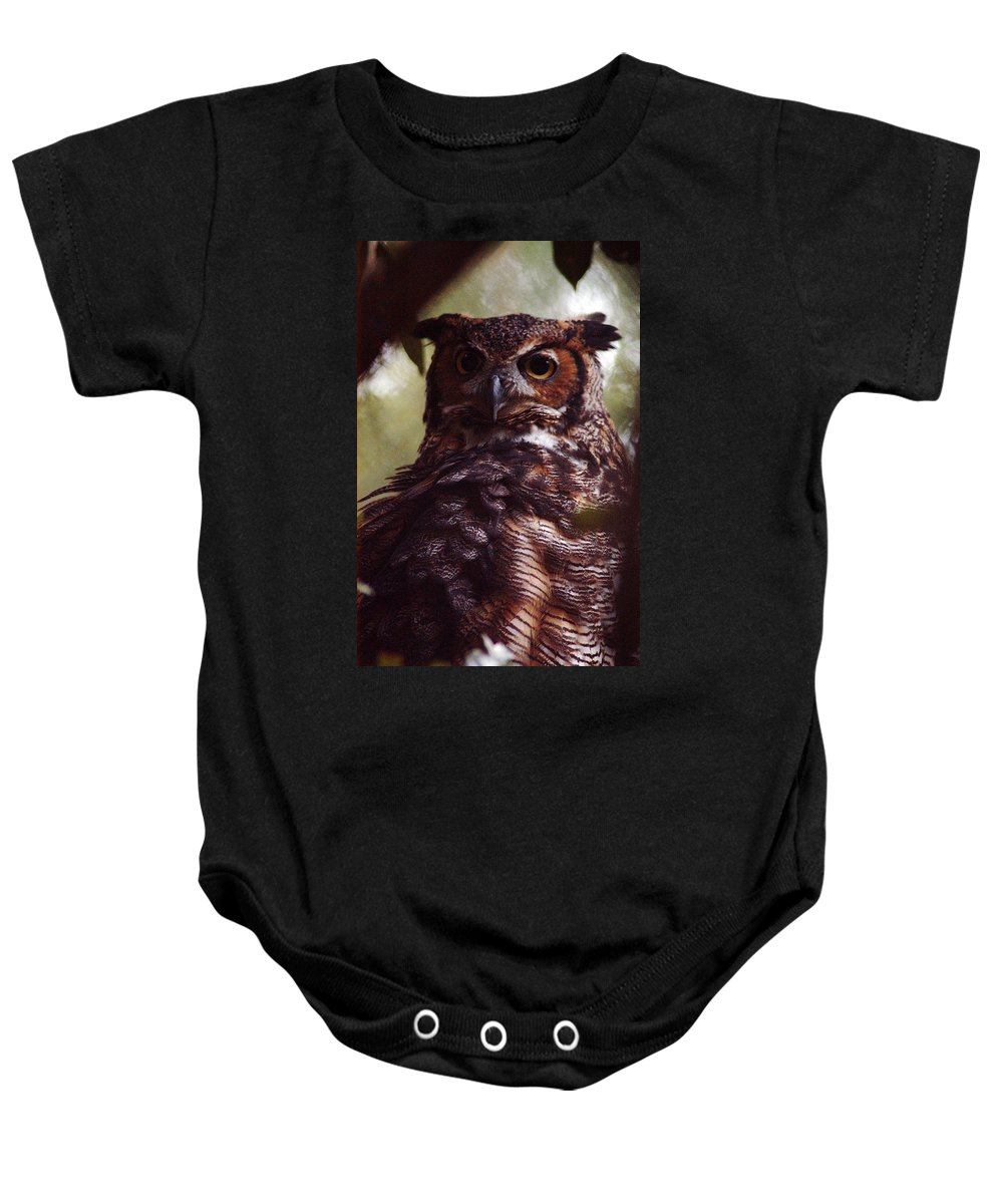 Clay Baby Onesie featuring the photograph Who by Clayton Bruster