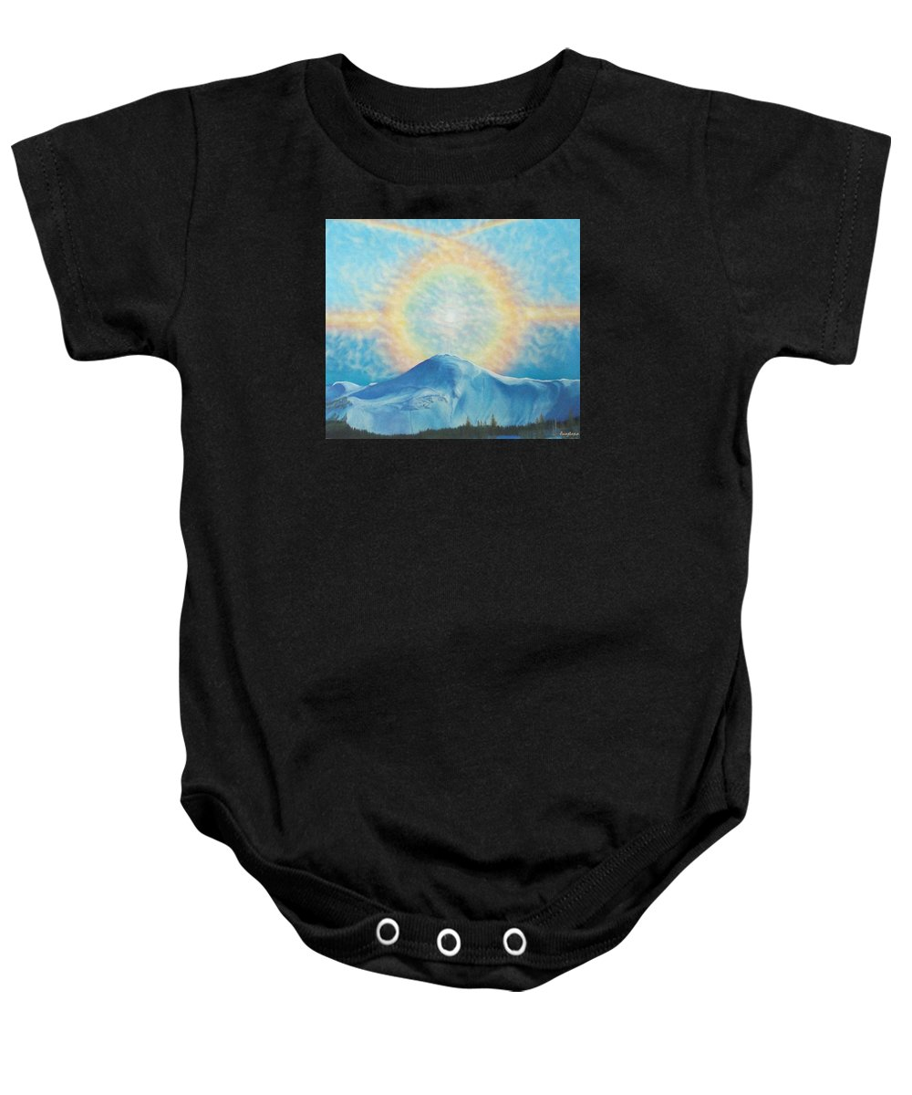 Sun Rainbow Baby Onesie featuring the painting Who Makes The Clouds His Chariot Fire Rainbow Over Alberta Peak by Anastasia Savage Ealy