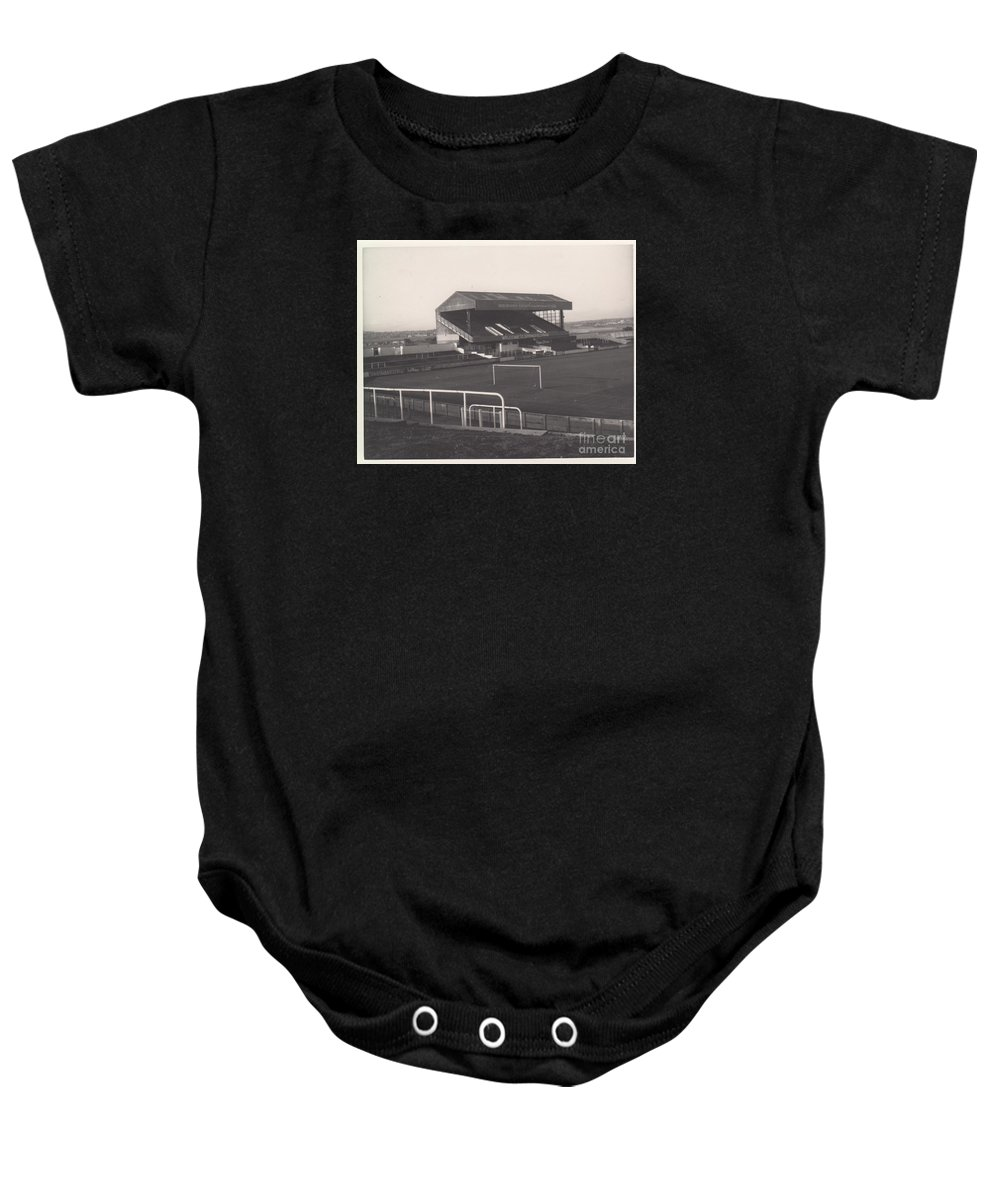 Baby Onesie featuring the photograph Wigan Athletic - Springfield Park - Main Stand 1 - Bw - 1969 by Legendary Football Grounds