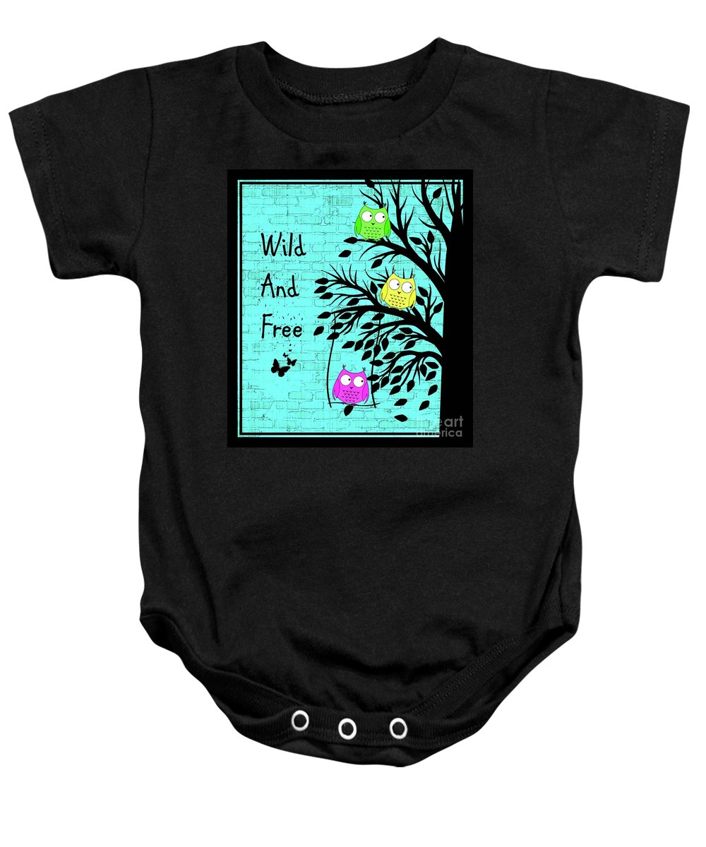 Owl Baby Onesie featuring the digital art Wild And Free by Tina LeCour