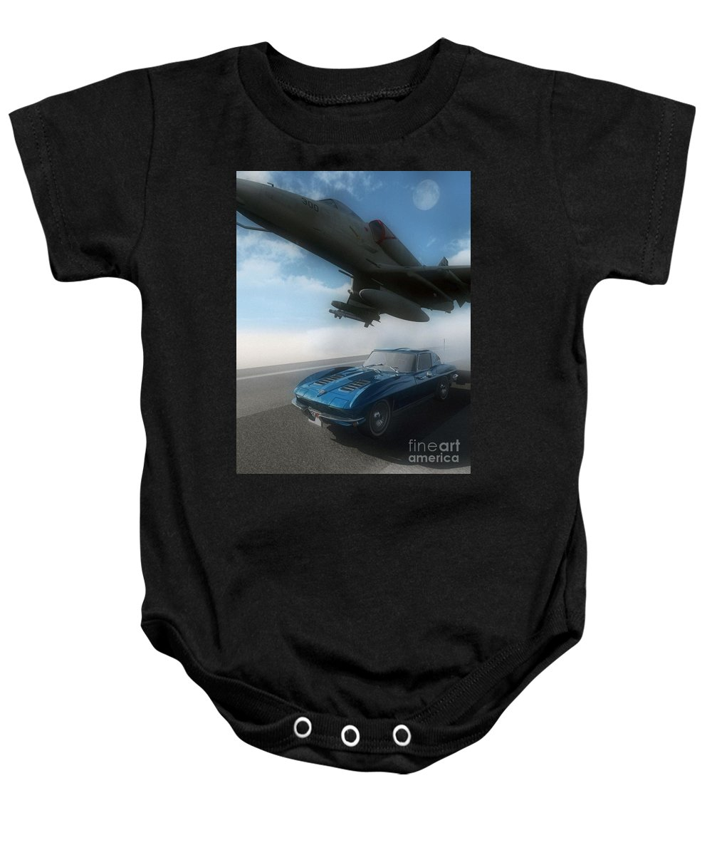 Automotive Baby Onesie featuring the digital art Wild Blue by Richard Rizzo