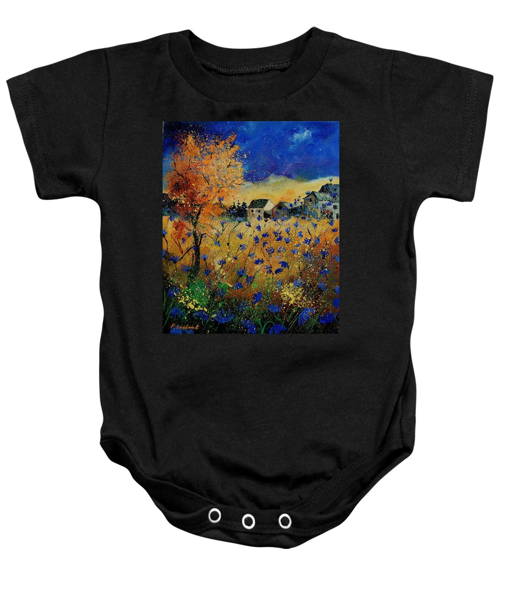 Flowers Baby Onesie featuring the painting Wild Chicorees 56 by Pol Ledent