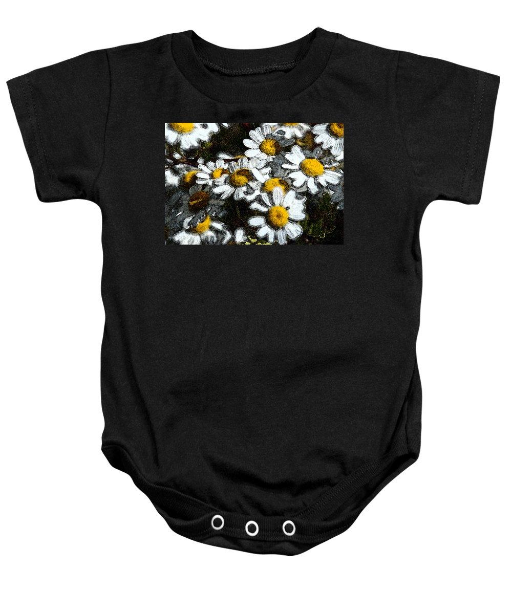 Daisies Baby Onesie featuring the photograph Wild Daisies by Carol Eliassen