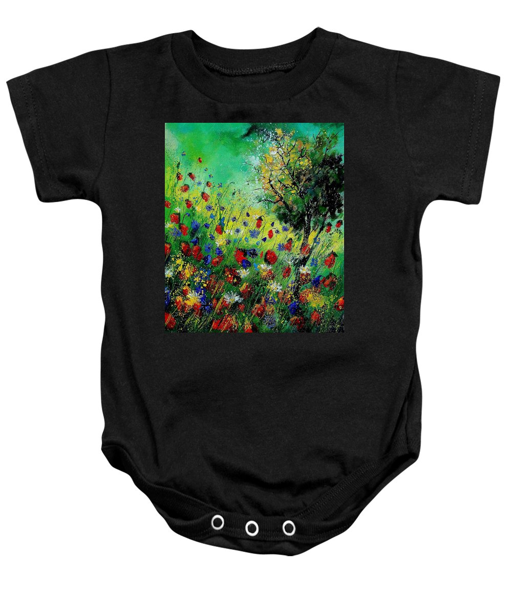 Flowers Baby Onesie featuring the painting Wild Flowers 670130 by Pol Ledent