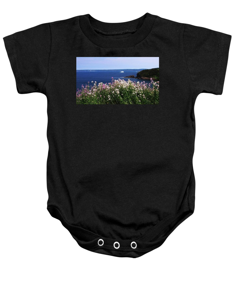 Photograph Iceberg Wild Flower Atlantic Ocean Newfoundland Baby Onesie featuring the photograph Wild Flowers And Iceberg by Seon-Jeong Kim
