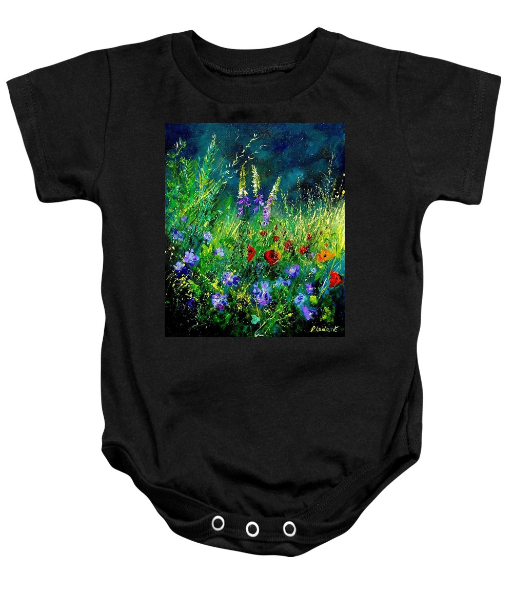 Poppies Baby Onesie featuring the painting Wild Flowers by Pol Ledent
