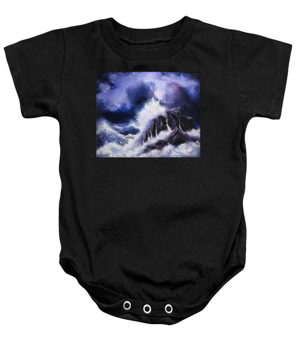 Seascape Baby Onesie featuring the painting Wild Sea by John Cocoris