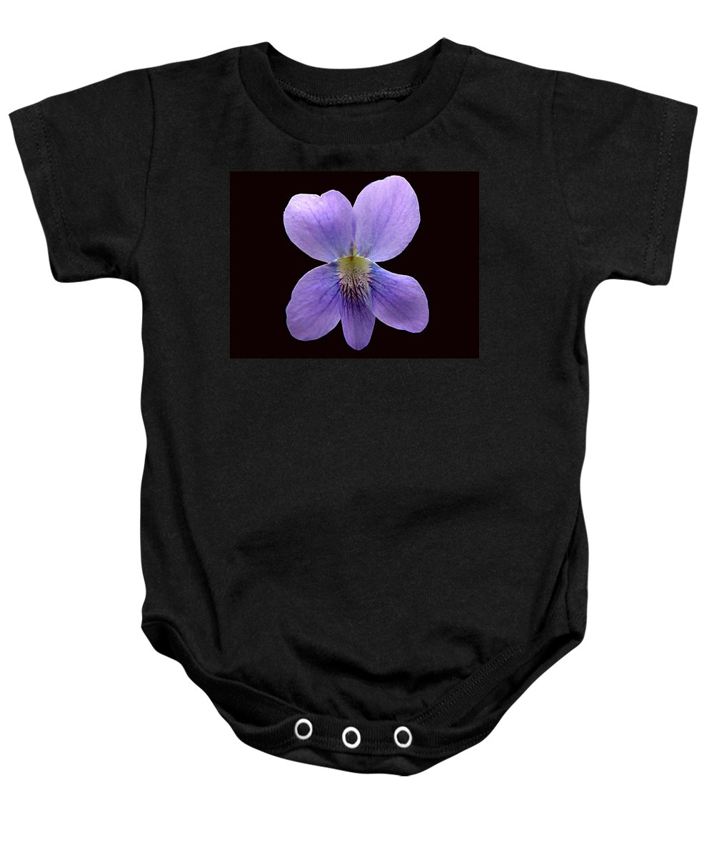 Violet Baby Onesie featuring the photograph Wild Violet On Black by J M Farris Photography