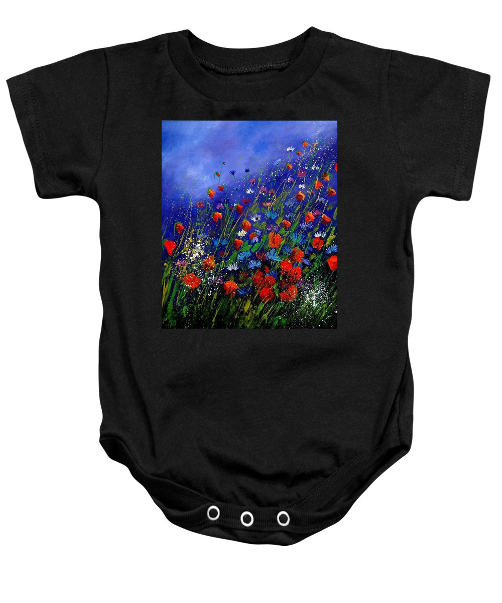 Poppies Baby Onesie featuring the painting Wildflowers 78 by Pol Ledent