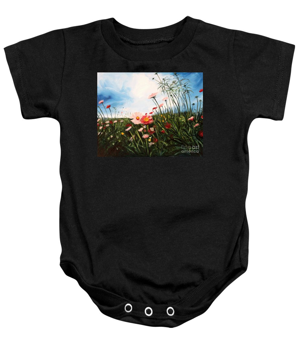 Oil Baby Onesie featuring the painting Wildflowers by Elizabeth Robinette Tyndall