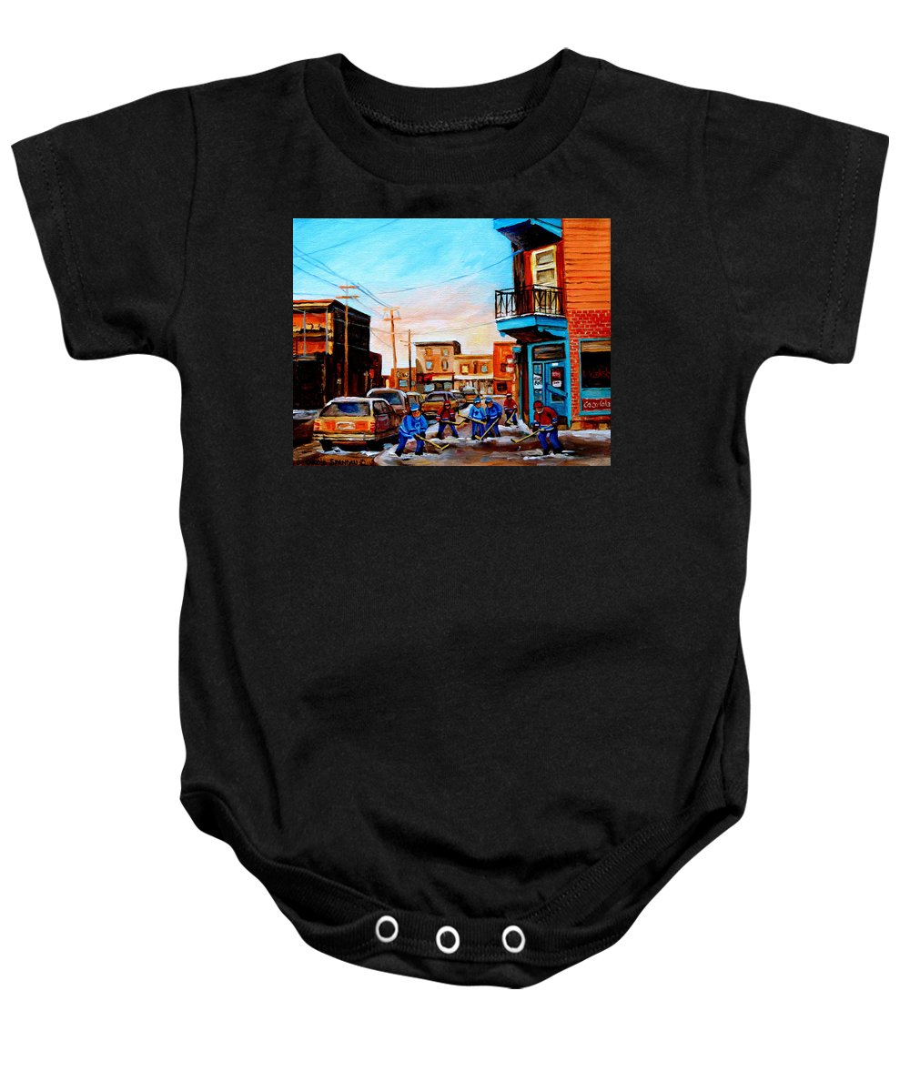 Hockey Baby Onesie featuring the painting Wilensky's A Friendly Game Of Hockey by Carole Spandau