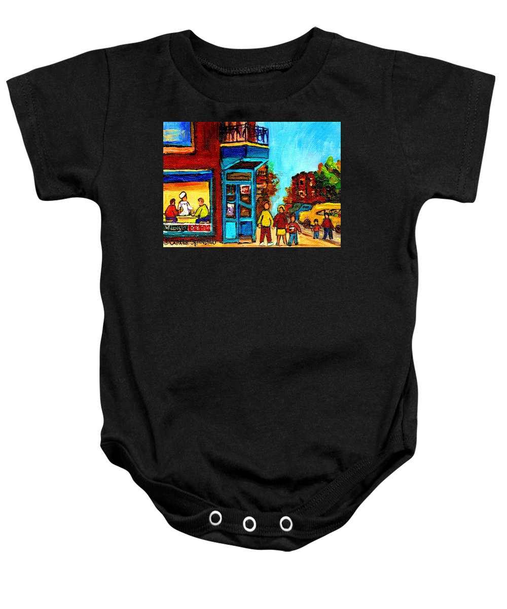 Montreal Baby Onesie featuring the painting Wilensky's Lunch Counter With School Bus Montreal Street Scene by Carole Spandau