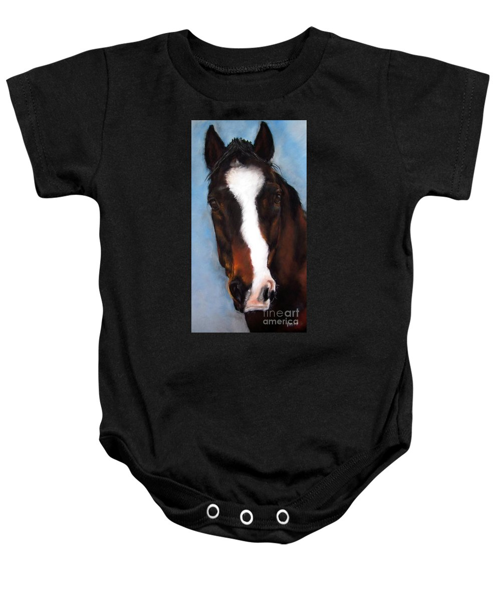 Horse Painting Baby Onesie featuring the painting Willie Duke by Frances Marino