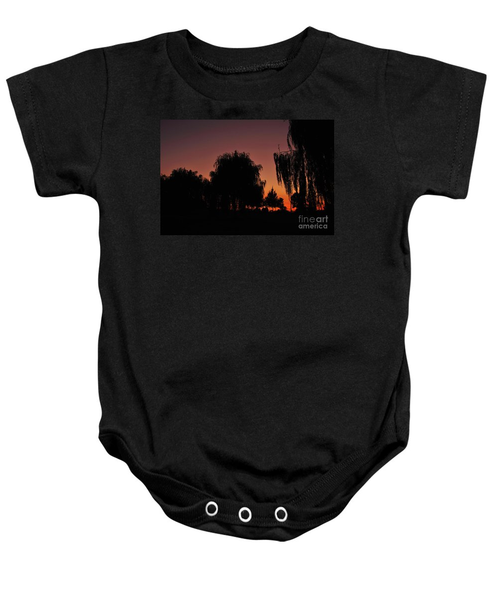 Leaves Baby Onesie featuring the photograph Willow Tree Silhouettes by Joe Ng