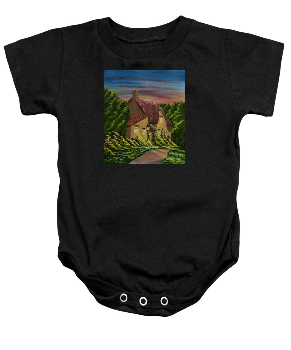 Sunset Baby Onesie featuring the painting Wiltshire At Sunset by Charlotte Blanchard