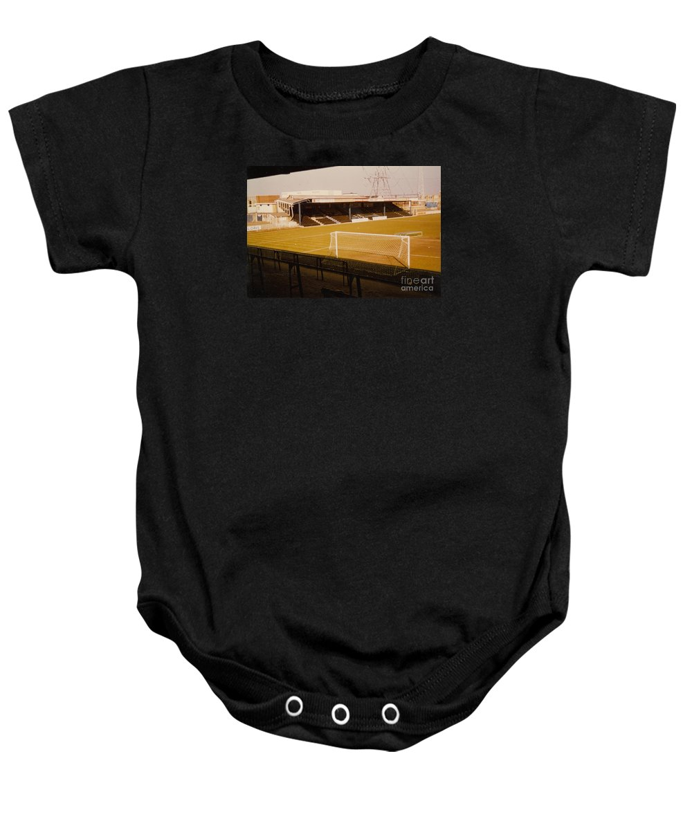 Baby Onesie featuring the photograph Wimbledon Fc - Plough Lane - Main Stand 1 - 1969 by Legendary Football Grounds