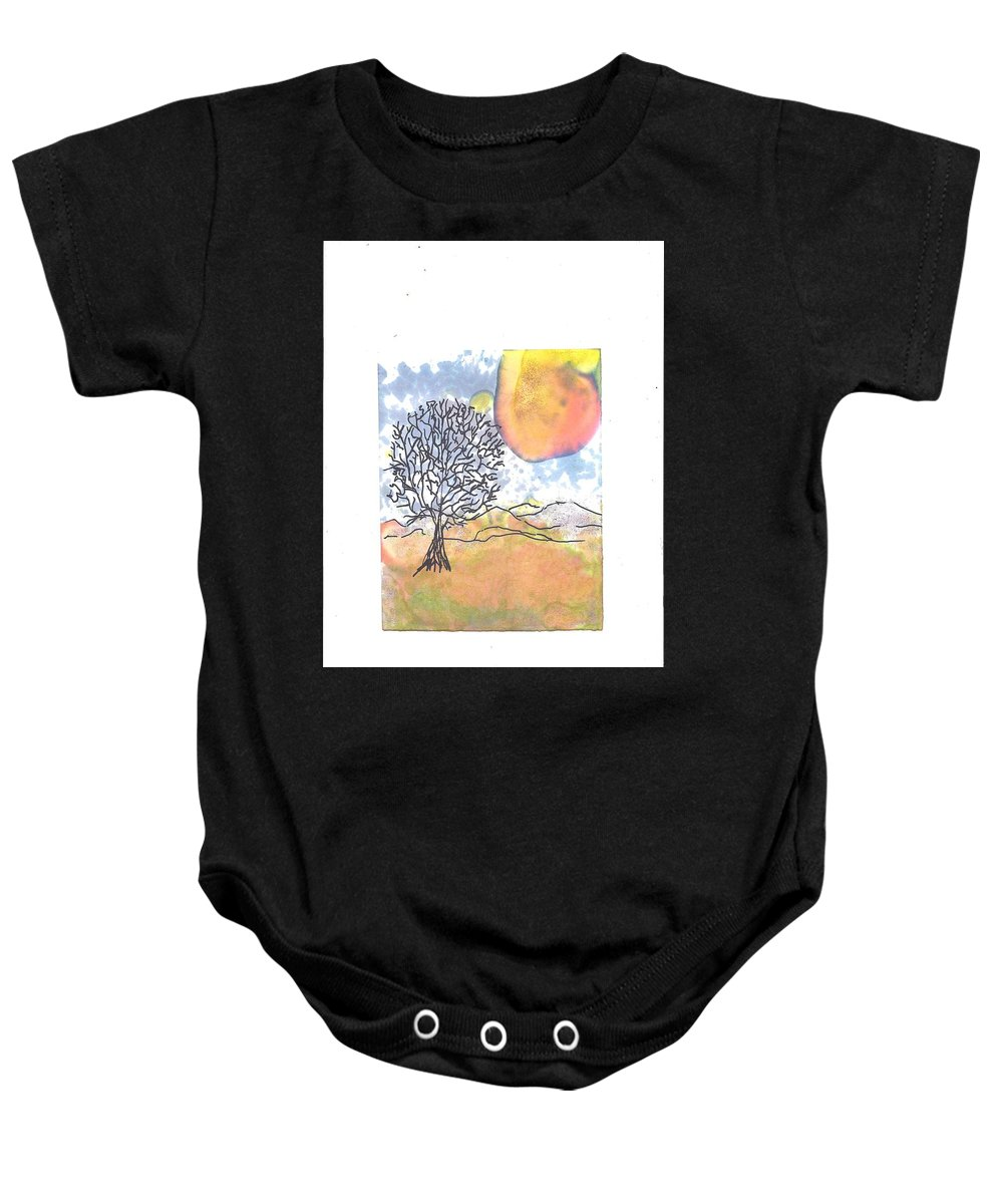 Tree Baby Onesie featuring the mixed media Windblown 7 by Wayne Potrafka