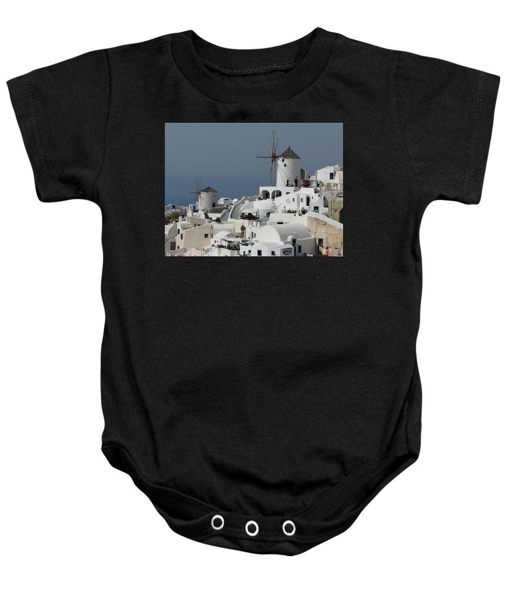 Santorin Baby Onesie featuring the photograph Windmills Of Santorini by Valerie Ornstein
