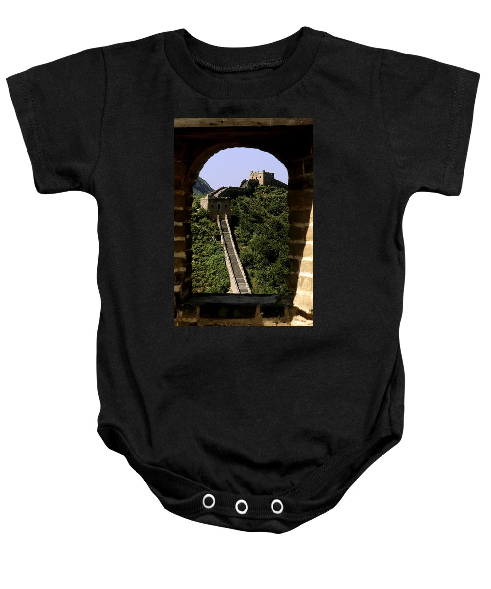 Afar Baby Onesie featuring the photograph Window Great Wall by Bill Bachmann - Printscapes
